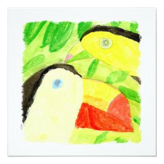 Peinture d'aquarelle avec des couples d'oiseau de carton d'invitation  13,33 cm
