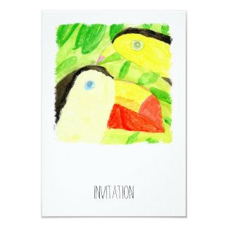 Peinture d'aquarelle avec des couples d'oiseau de carton d'invitation 8,89 cm x 12,70 cm