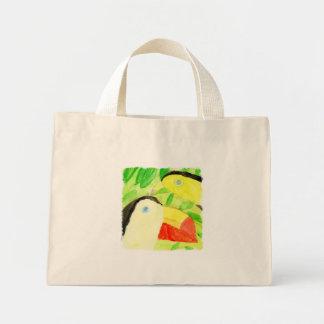 Peinture d'aquarelle avec des couples d'oiseau de mini tote bag