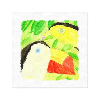 Peinture d'aquarelle avec des couples d'oiseau de toiles