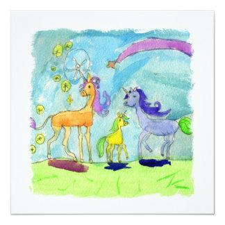 Peinture d'aquarelle avec la famille de poney de carton d'invitation  13,33 cm