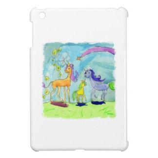 Peinture d'aquarelle avec la famille de poney de coques pour iPad mini
