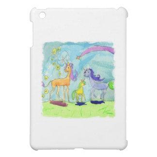 Peinture d'aquarelle avec la famille de poney de étuis iPad mini
