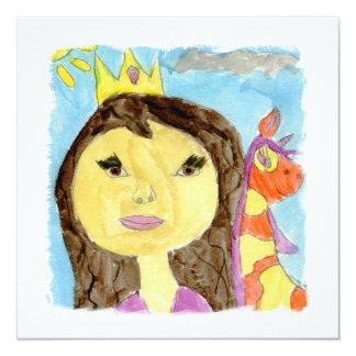Peinture d'aquarelle avec la princesse et la carton d'invitation  13,33 cm
