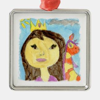 Peinture d'aquarelle avec la princesse et la ornement carré argenté