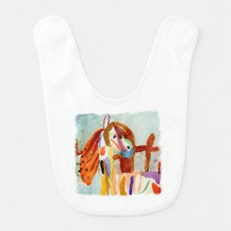 Peinture d'aquarelle avec le cheval multicolore bavoir de bébé