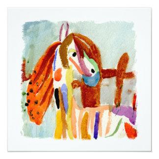 Peinture d'aquarelle avec le cheval multicolore carton d'invitation  13,33 cm