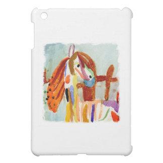 Peinture d'aquarelle avec le cheval multicolore coque pour iPad mini