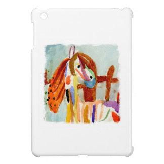 Peinture d'aquarelle avec le cheval multicolore étui iPad mini