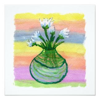 Peinture d'aquarelle avec le pot de fleurs carton d'invitation  13,33 cm