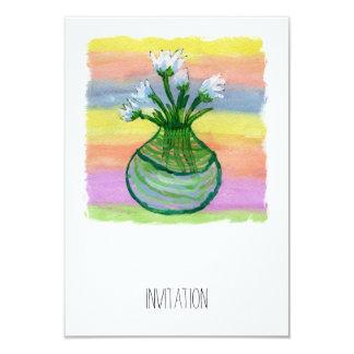 Peinture d'aquarelle avec le pot de fleurs carton d'invitation 8,89 cm x 12,70 cm