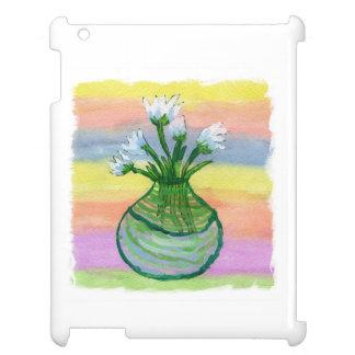 Peinture d'aquarelle avec le pot de fleurs étui iPad