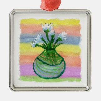 Peinture d'aquarelle avec le pot de fleurs ornement carré argenté