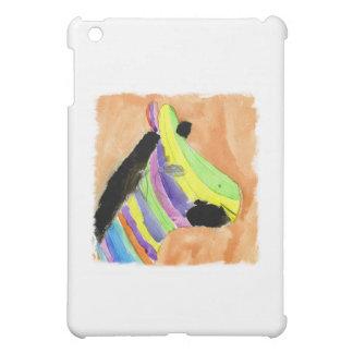Peinture d'aquarelle avec le zèbre d'arc-en-ciel coque iPad mini
