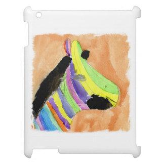 Peinture d'aquarelle avec le zèbre d'arc-en-ciel étuis iPad