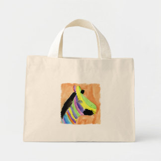 Peinture d'aquarelle avec le zèbre d'arc-en-ciel mini tote bag