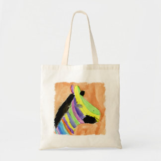 Peinture d'aquarelle avec le zèbre d'arc-en-ciel sac