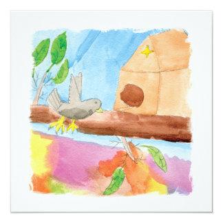 Peinture d'aquarelle avec l'oiseau en nature carton d'invitation  13,33 cm