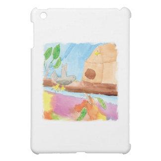 Peinture d'aquarelle avec l'oiseau en nature coques pour iPad mini