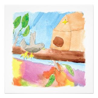 Peinture d'aquarelle avec l'oiseau en nature impression photo
