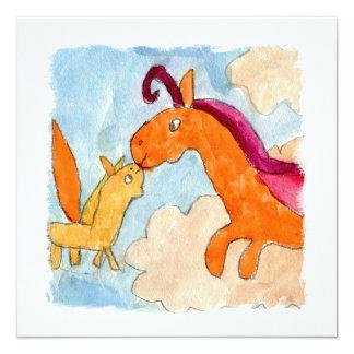 Peinture d'aquarelle avec Pegasus et le sien Carton D'invitation 13,33 Cm