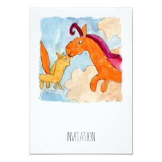 Peinture d'aquarelle avec Pegasus et le sien Carton D'invitation 8,89 Cm X 12,70 Cm