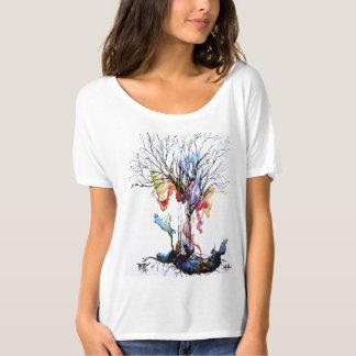Peinture d'aquarelle d'arbre de couleur la belle t-shirt