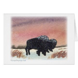 Peinture d'aquarelle de Buffalo de coucher du Carte De Vœux