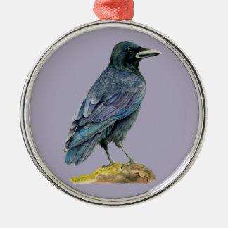 Peinture d'aquarelle de corneille ornement rond argenté
