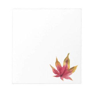 Peinture d'aquarelle de feuille d'érable d'automne blocs notes