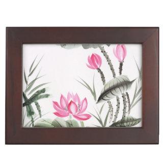 Peinture d'aquarelle de fleur de Lotus Boîtes À Souvenirs