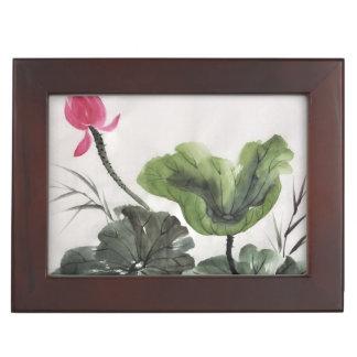 Peinture d'aquarelle de la fleur de Lotus 2 Boîtes À Souvenirs