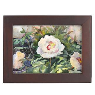 Peinture d'aquarelle des belles fleurs boîte à souvenirs