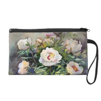 Peinture d'aquarelle des belles fleurs sacs à main avec dragonne