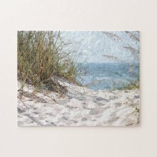Peinture d'aquarelle d'océan de plage de dunes puzzle