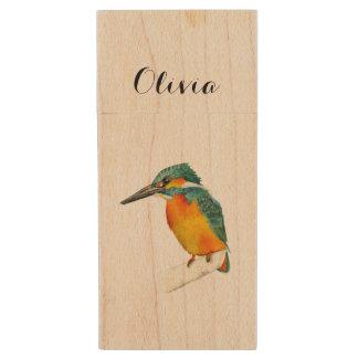 Peinture d'aquarelle d'oiseau de martin-pêcheur clé USB 2.0 en bois