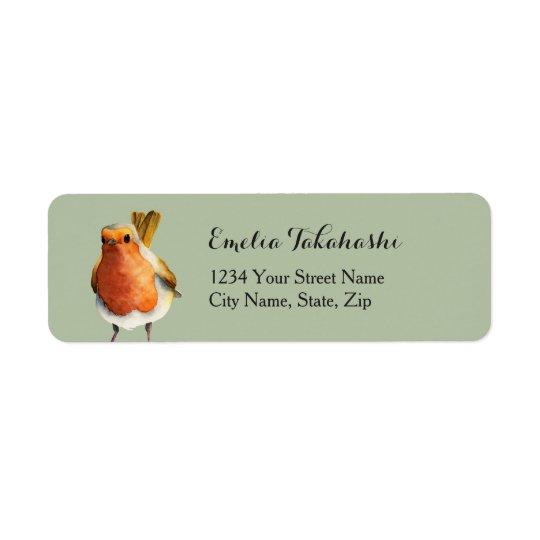 Peinture d'aquarelle d'oiseau de Robin Étiquette D'adresse Retour
