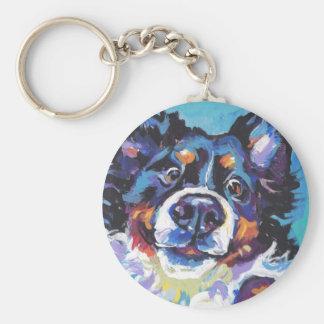 Peinture d'art de bruit de chien de montagne de porte-clé rond