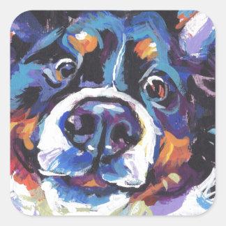 Peinture d'art de bruit de chien de montagne de sticker carré
