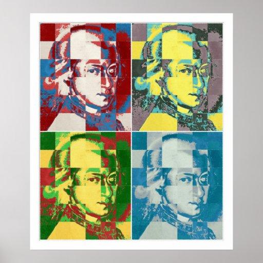 Peinture d'art de bruit de Wolfgang Amadeus Mozart Posters