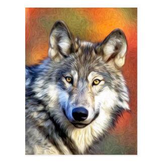 Peinture d'art de loup gris cartes postales