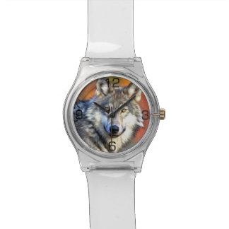 Peinture d'art de loup montres cadran