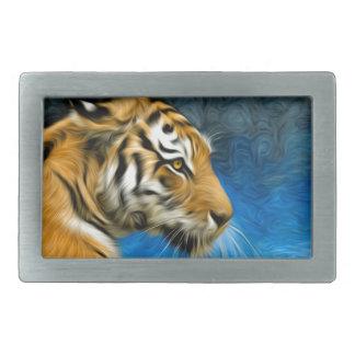 Peinture d'art de tigre boucle de ceinture rectangulaire