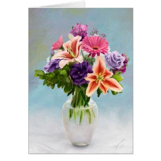 Peinture de bouquet floral carte de vœux