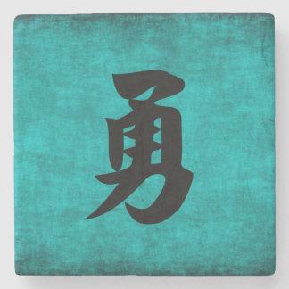 Peinture de caractère chinois pour le courage dans dessous-de-verre en pierre