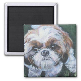 peinture de chien de beaux-arts de tzu de shih magnet carré