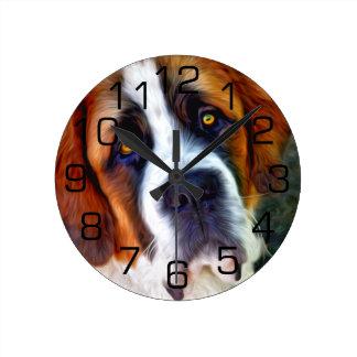 Peinture de chien de St Bernard Horloge Ronde