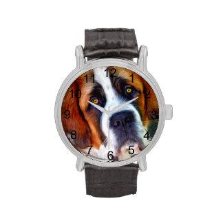 Peinture de chien de St Bernard Montres Bracelet