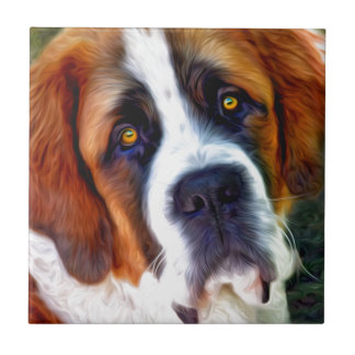 Peinture de chien de St Bernard Petit Carreau Carré