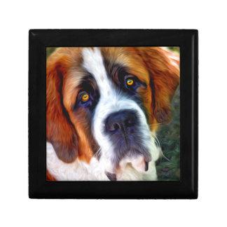 Peinture de chien de St Bernard Petite Boîte À Bijoux Carrée
